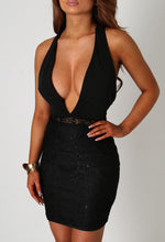 Neema Black Lace Plunge Front Mini Dress