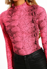 Pink Snake Print High Neck Long Sleeve Bodysuit - Close Up View
