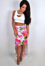 Nevaeh Multicolour Floral Print Dip Hem Skirt