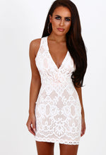 New Beginnings White and Nude Lace Mini Dress
