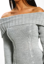 Grey Off The Shoulder Jumper Dress - Detail close Up