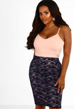 CURVE Nicole Navy and Nude Lace Bodycon Midi Dress