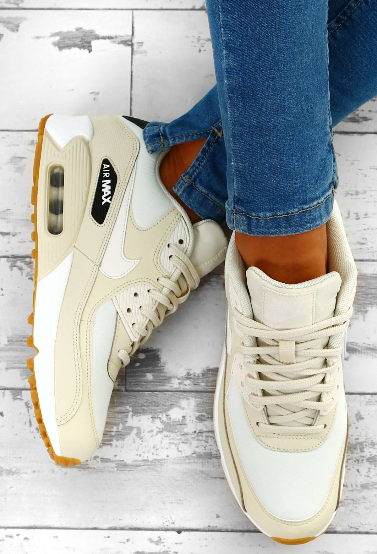 c926fb19c01 Nike Air Max 90 Cream Trainers – Pink Boutique UK