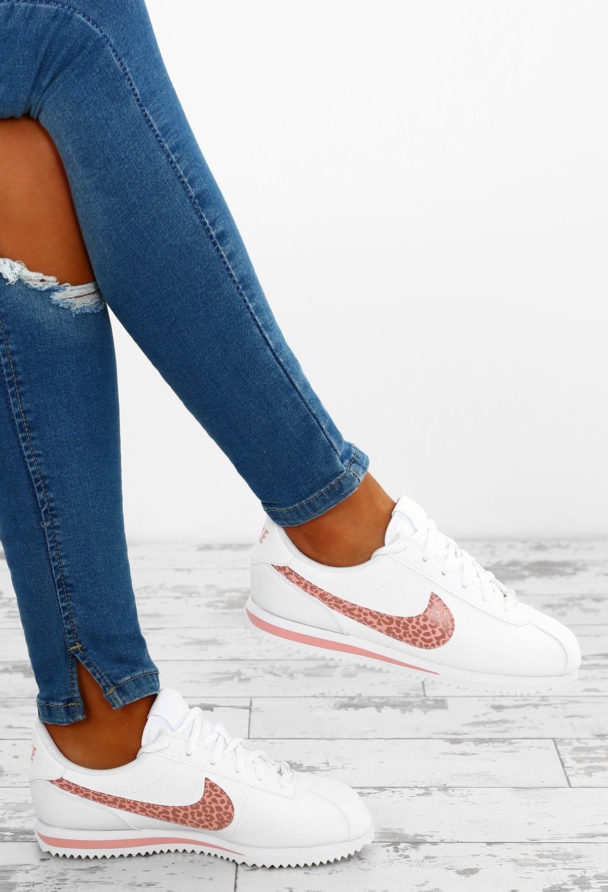new style dcaf7 e7489 Nike Cortez White and Pink Leopard Trainers – Pink Boutique UK