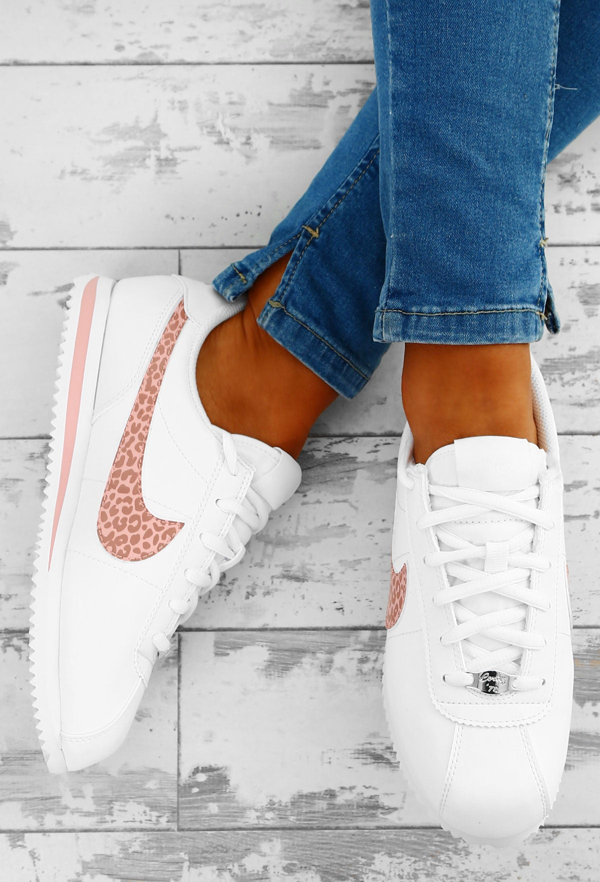 new style 3a395 5c885 Nike Cortez White and Pink Leopard Trainers – Pink Boutique UK