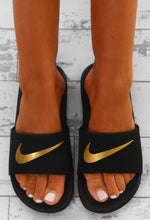 Nike Kawa Black and Gold Sliders