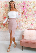 Nine To Five Rose Pink Suedette High Waisted Midi Skirt