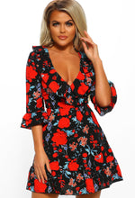 Red Multi Floral Print Lace Up Mini Dress - Front View