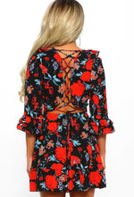 Red Multi Floral Print Lace Up Mini Dress - Back View