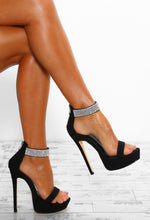 No Interruptions Black Diamante Strap Platform Heels
