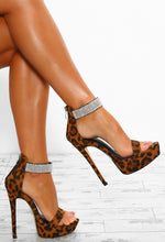 No Interruptions Brown Leopard Print Diamante Platform Heels
