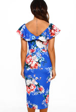 Cobalt Blue Floral Wrap Hem Midi Dress - Back View