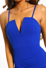 No Permission Cobalt Blue Ruched Detail Bodycon Midi Dress