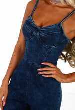 No Strings Attached Navy Acid Wash Denim Jumpsuit