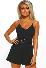 Nonstop Sass Black Belted Playsuit