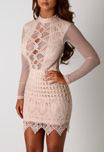 Fiesta Nude Crochet Mini Dress