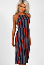 Navy Striped Culotte Jumpsuit - Front
