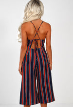 Navy Striped Culotte Jumpsuit - Back