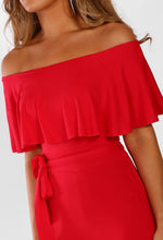 Oh So Chic Red Bardot Split Leg Jersey Jumpsuit
