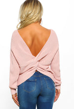 Oh So Clueless Rose Pink Twist Back Knitted Jumper