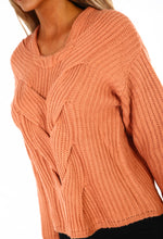 Oh So Cozy Peach Cable Knit Jumper
