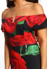 Red Floral Bardot Bodycon Midi Dress - Floral Detail Close up