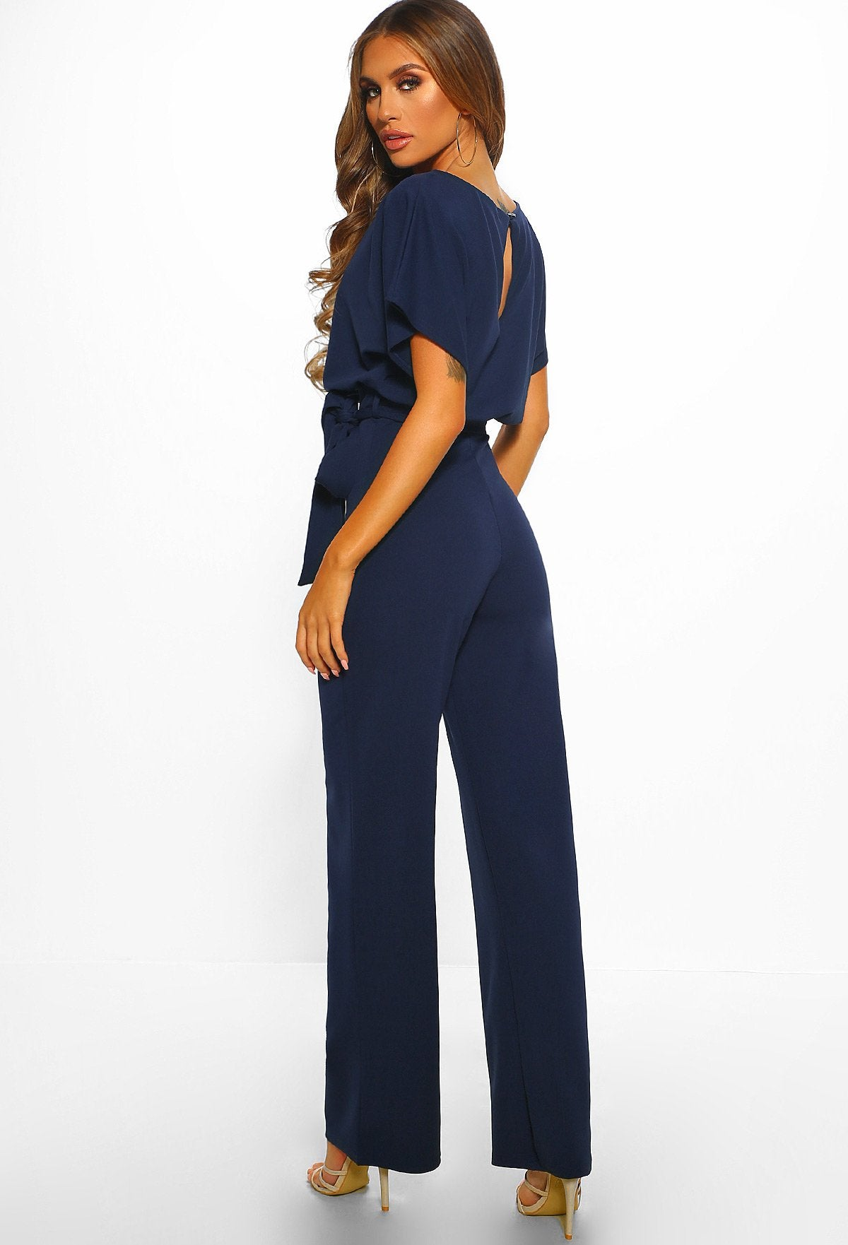 1b7f72e4b692 Oh So Glam Navy Belted Wide Leg Jumpsuit – Pink Boutique UK