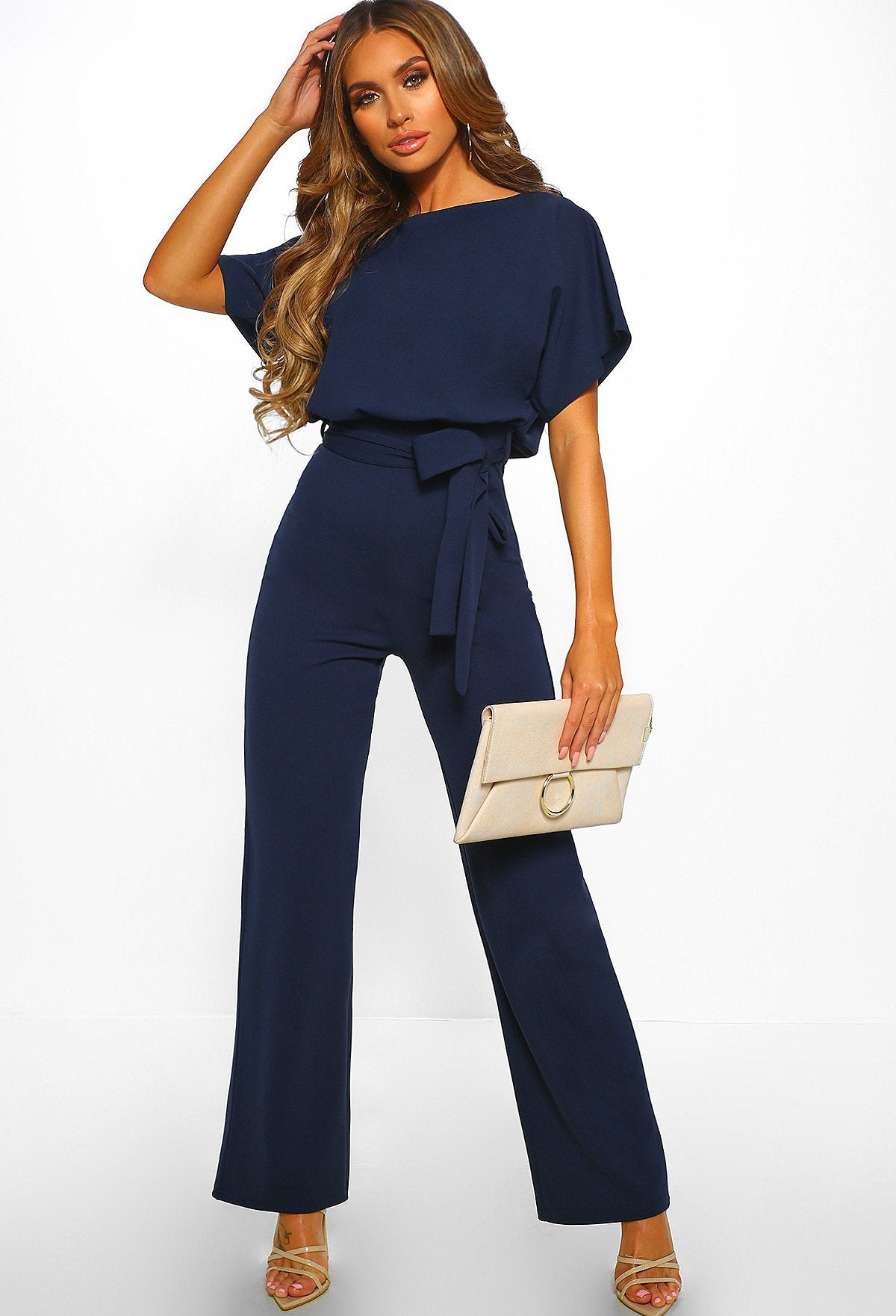 fe724c6bc820 Oh So Glam Navy Belted Wide Leg Jumpsuit – Pink Boutique UK