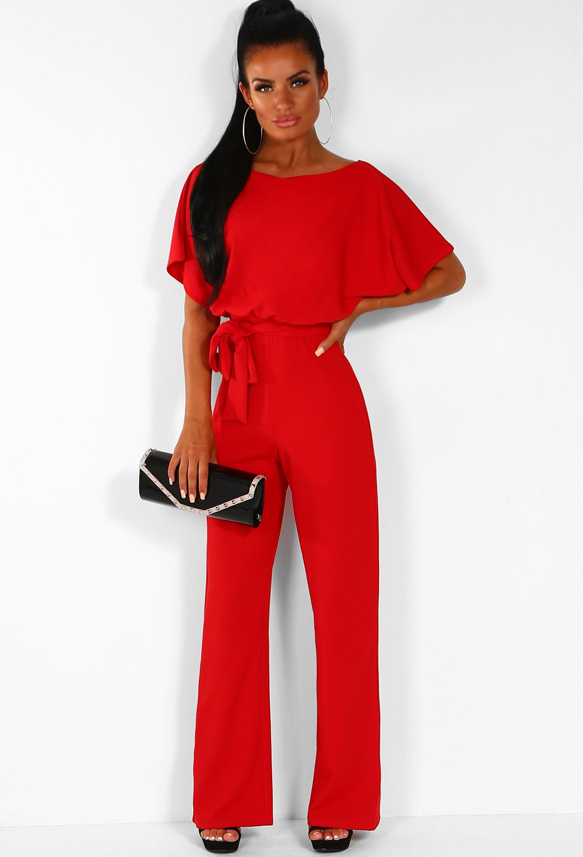 0896b6c8c743 Oh So Glam Red Belted Wide Leg Jumpsuit – Pink Boutique UK