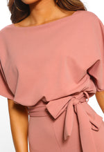 Oh So Glam Rose Pink Belted Wide Leg Jumpsuit