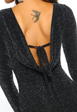 Oh So Perfect Black Lurex Cowl Back Mini Dress
