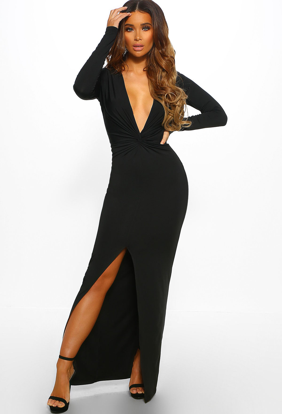 4b4bd4d4f14c Oh So Sexy Black Long Sleeve Plunge Maxi Dress – Pink Boutique UK
