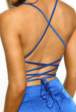 Oh So Stunning Cobalt Blue Satin Cowl Cross Strap Back Midi Dress