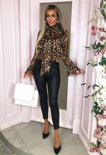 Leopard Print Sheer Pussy Bow Ruffle Blouse - with background