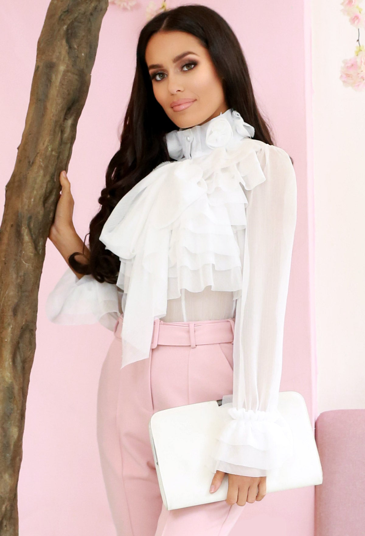 511d03376171 On Show White Sheer Pussy Bow Ruffle Blouse – Pink Boutique UK