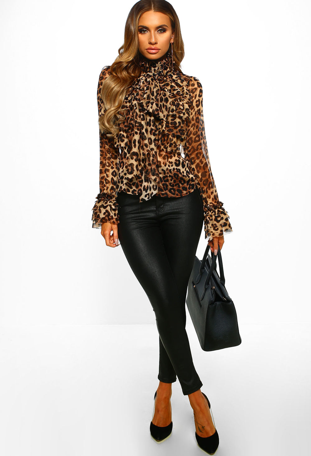 On Show Multi Leopard Print Sheer Pussy Bow Ruffle Blouse