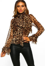 Leopard Print Sheer Pussy Bow Ruffle Blouse - front view