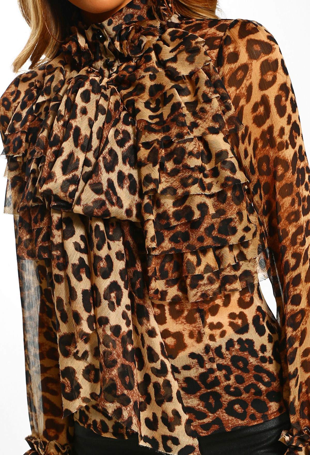 4d1c480e2970 On Show Multi Leopard Print Sheer Pussy Bow Ruffle Blouse – Pink ...
