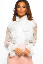 On Show White Sheer Pussy Bow Ruffle Blouse