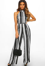 Polka Dot Halterneck Wide Leg Jumpsuit - Front with Accessory