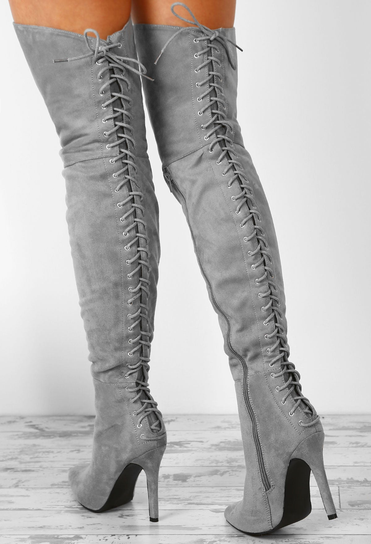 fe4b0fa90ca On The Verge Grey Faux Suede Tie Back Thigh High Stiletto Boots ...