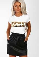 One Kiss Black Faux Leather High Waisted Mini Skirt
