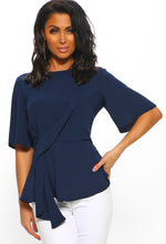 Navy Drape Front Short Sleeve Blouse
