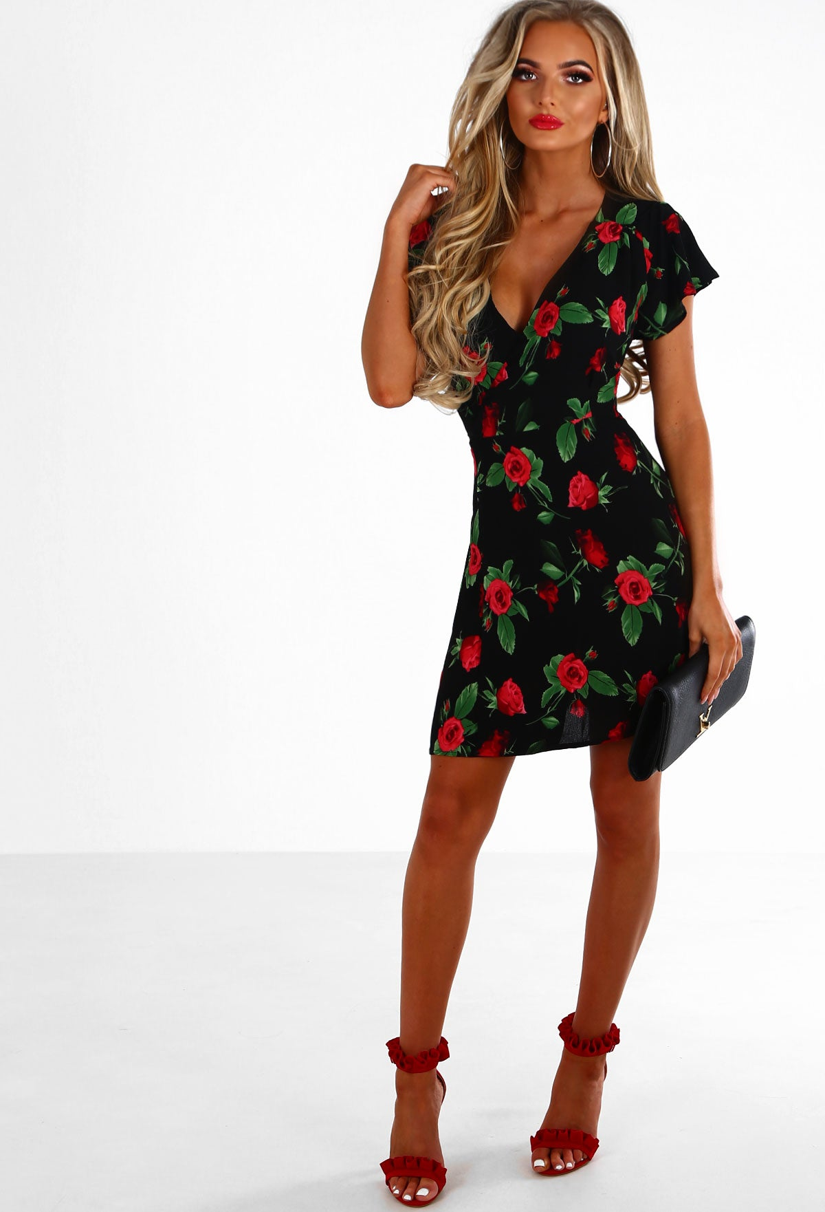 8e13dffeeb Opposites Attract Black and Red Rose Print Wrap Mini Dress – Pink ...