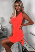 Accidentally In Love Neon Orange Cowl Halterneck Slinky Mini Dress