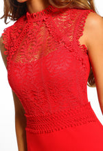 Red Lace Bodycon Midi Dress - Lace Detail Close Up