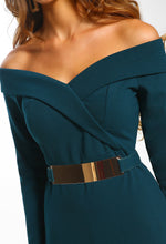 Out On The Town Green Bardot Belted Bodycon Mini Dress
