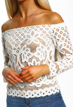 White Lace Bardot Top - Close up view