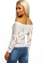 White Lace Long Sleeve Bardot Top