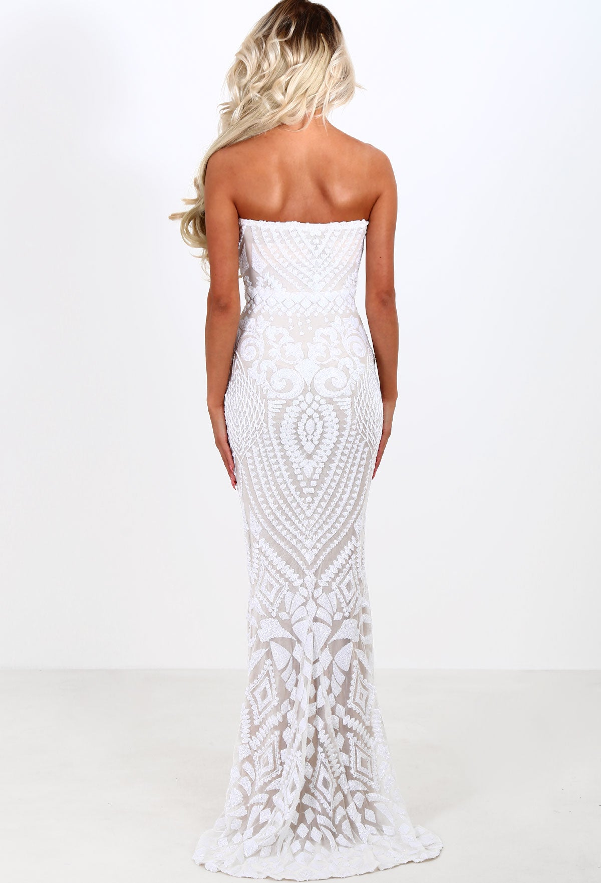 004174e105 Limited Edition Out Of This World White Sequin Strapless Maxi Dress ...